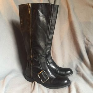 Nine West Callout Leather Riding Boot-7.5 WideCalf